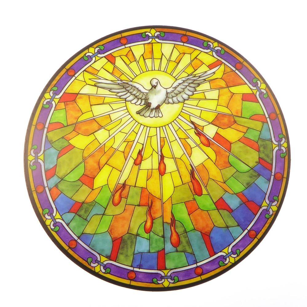Holy Spirit suncatcher stained glass window sticker reusable 6 inch