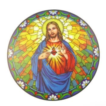 Sacred Heart suncatcher stained glass window sticker reusable 6 inch