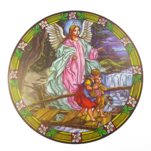Guardian Angel suncatcher stained glass window sticker reusable 6 inch