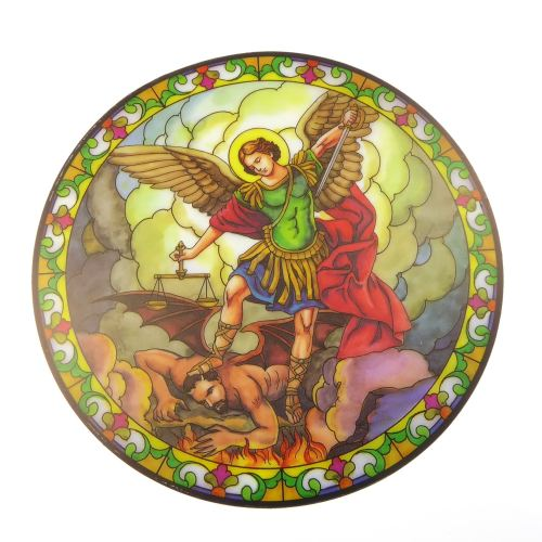 St. Michael suncatcher stained glass window sticker reusable 6 inch