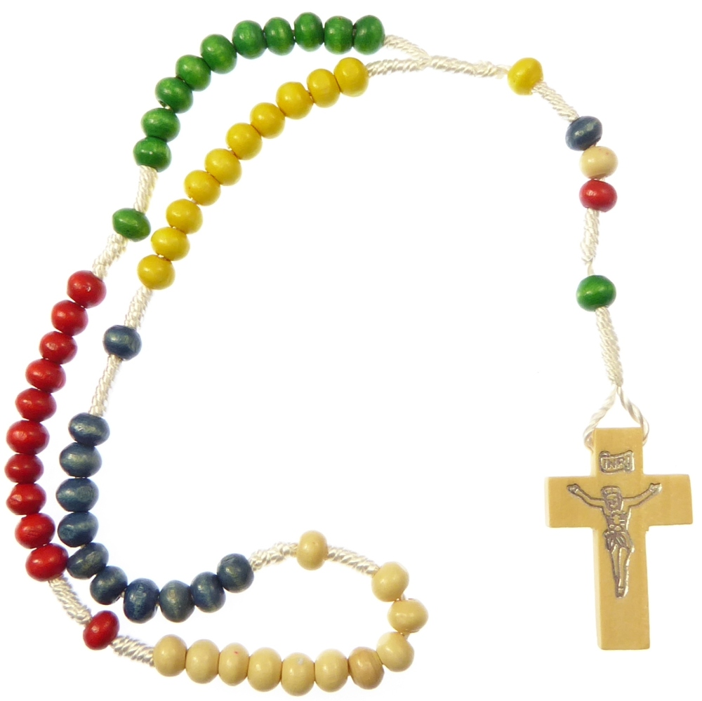 Wood missionary rope rosary beads red green yellow blue