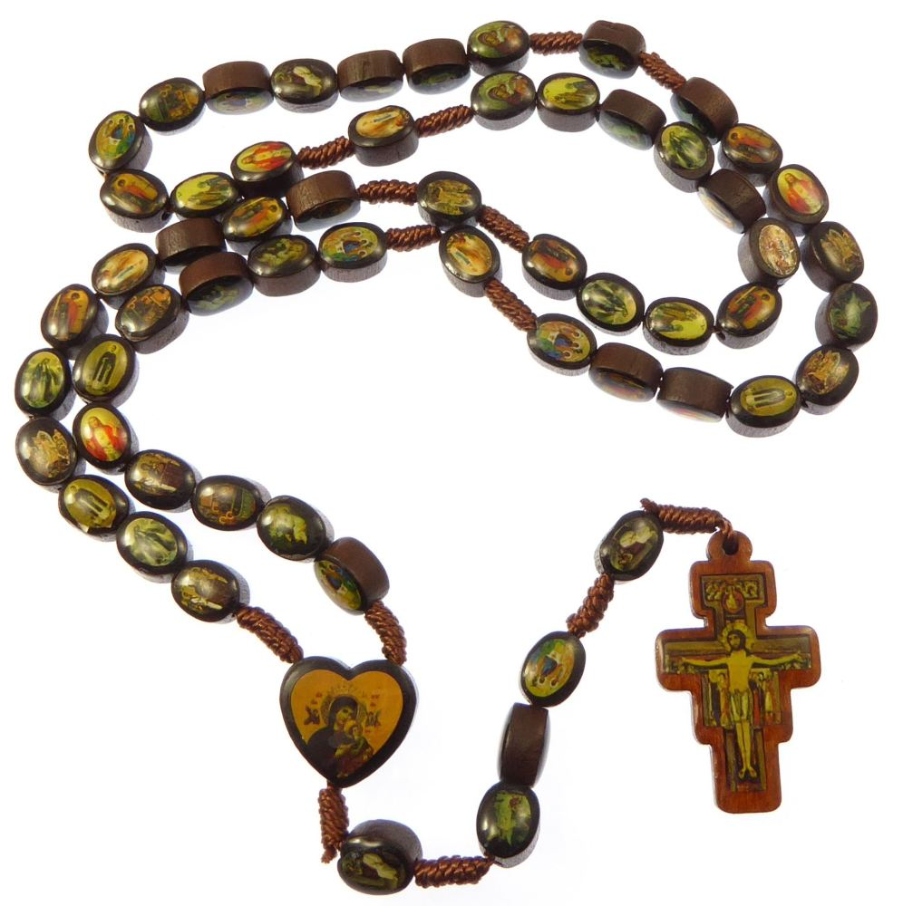 Fransiscan crucifix brown wood Saints rosary beads