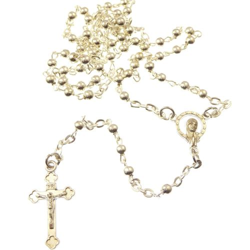 Gift boxed metal rosary beads in silver colour