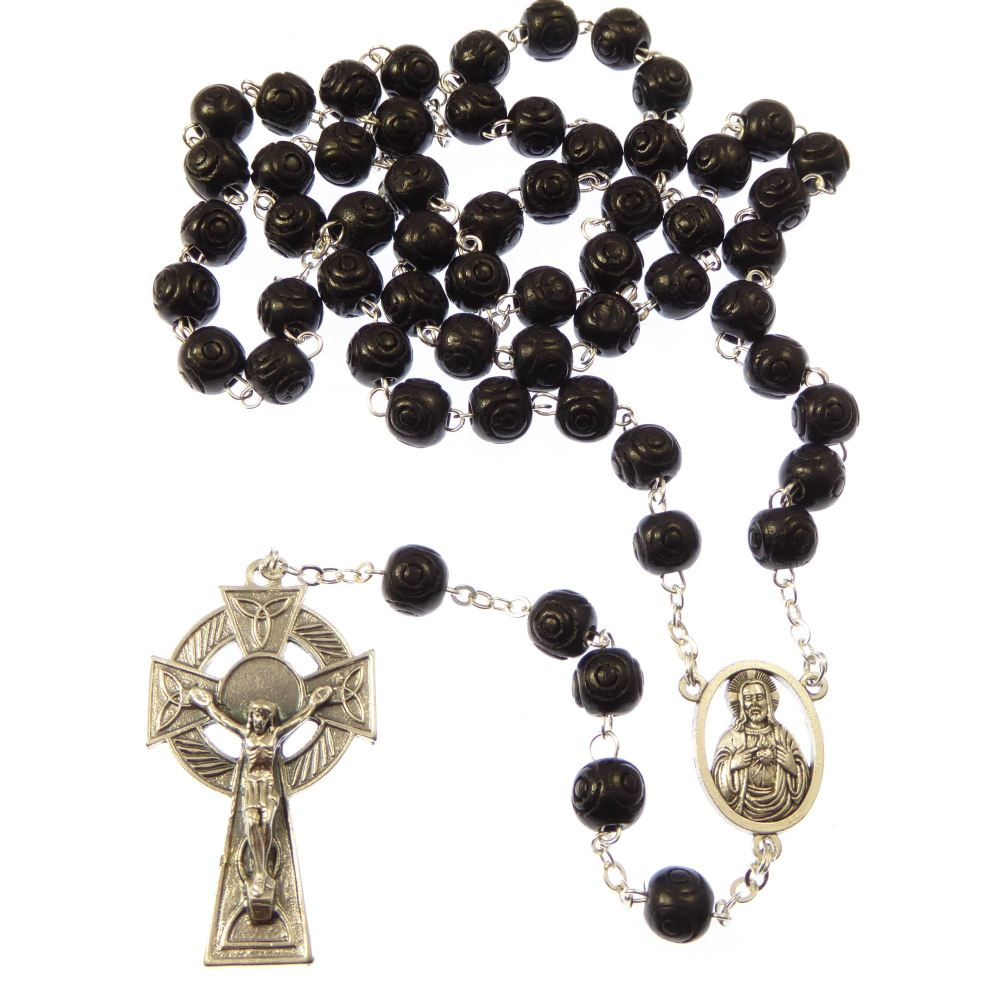 Wood carved black rosary beads with a celtic crucifix