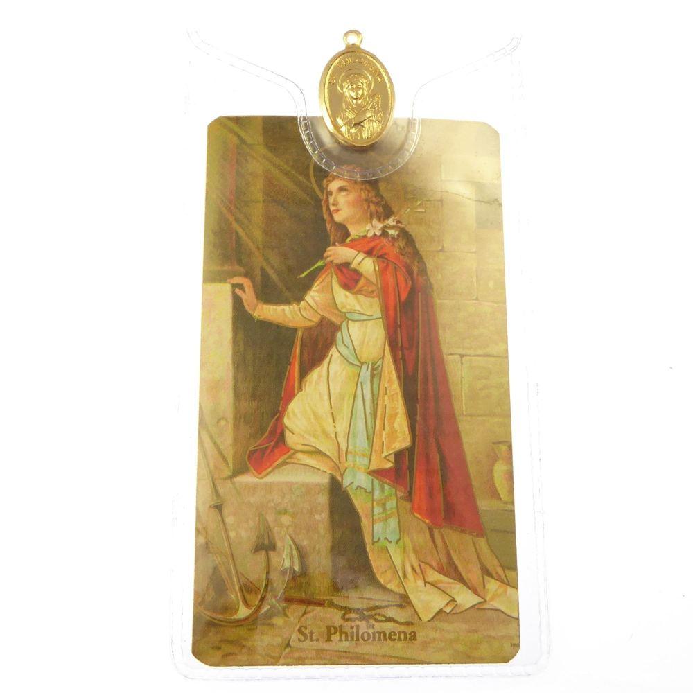 Catholic gold colour metal 2.5cm St. Philomena medal