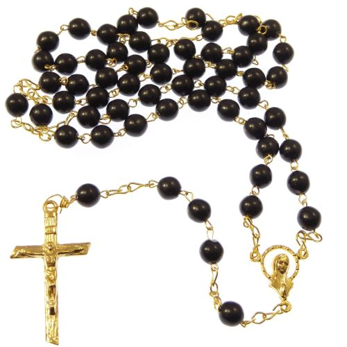Round black glass rosary beads - 6mm beads - gold