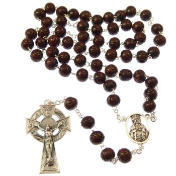 Gift boxed brown wood rosary beads with a celtic crucifix