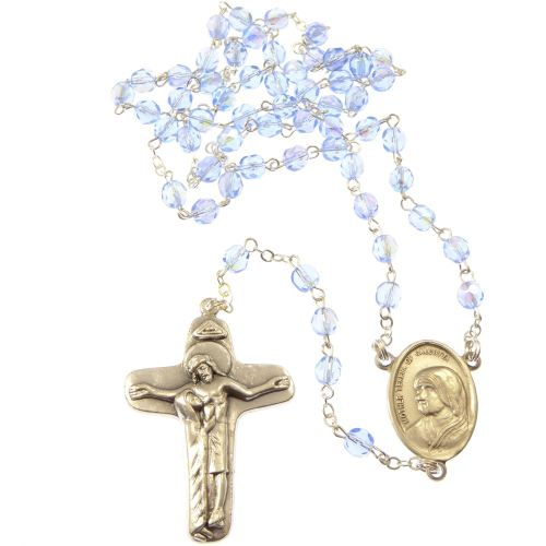 Blue glass faceted Mother Teresa rosary beads in velvet box
