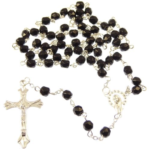 Long black glass Catholic rosary beads Our Lady center