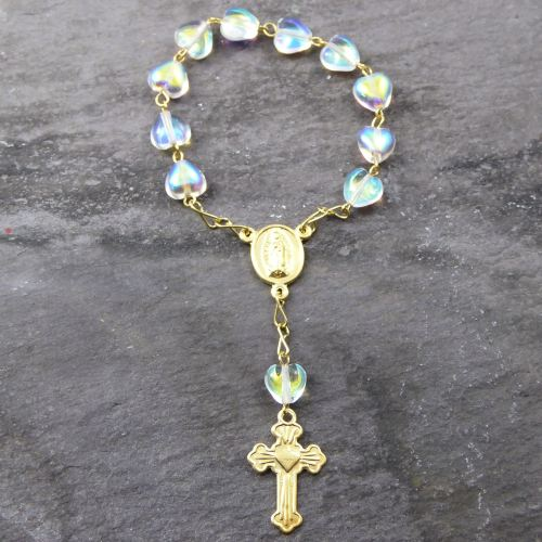 1-Decade rosary iridescent clear glass heart beads