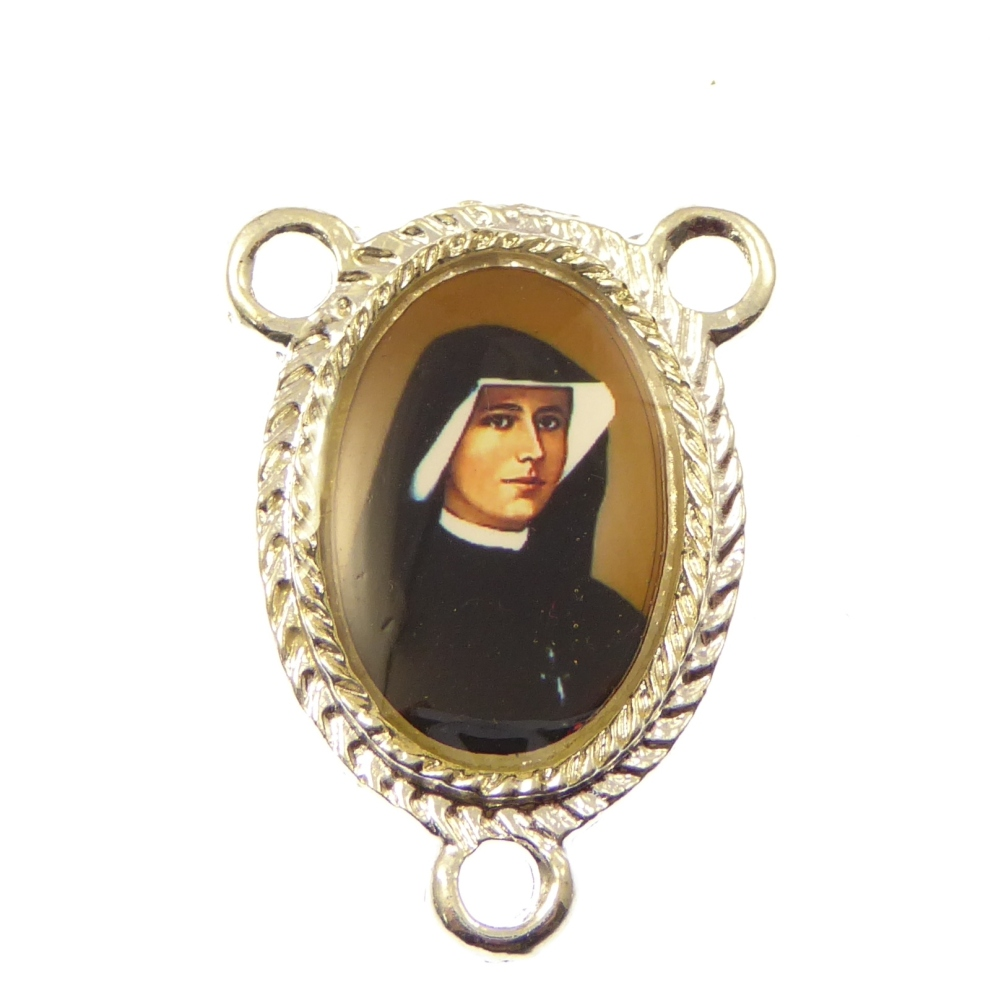 Catholc St. Faustina silver center rosary finding 25mm