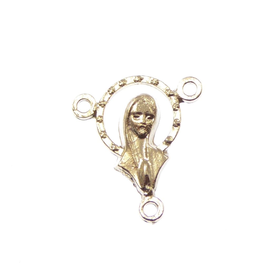 17mm rosary beads center - Virgin Mary - silver