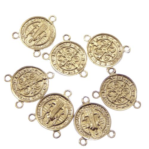 Wholesale St Benedict center rosary part silver 2cm x10