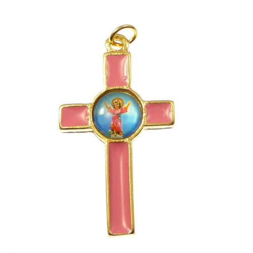 Pink and gold Divine Child crucifix cross