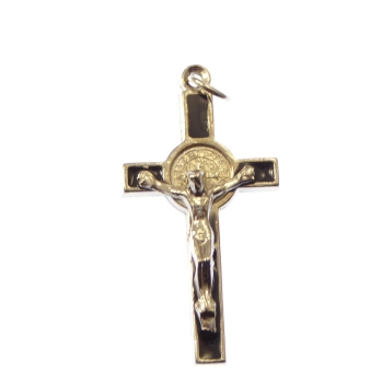 Black and silver St. Benedict crucifix cross