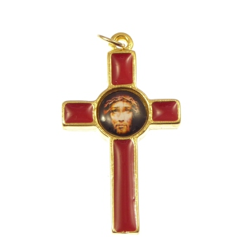 Gold and red Sacred face of Jesus crucifix cross