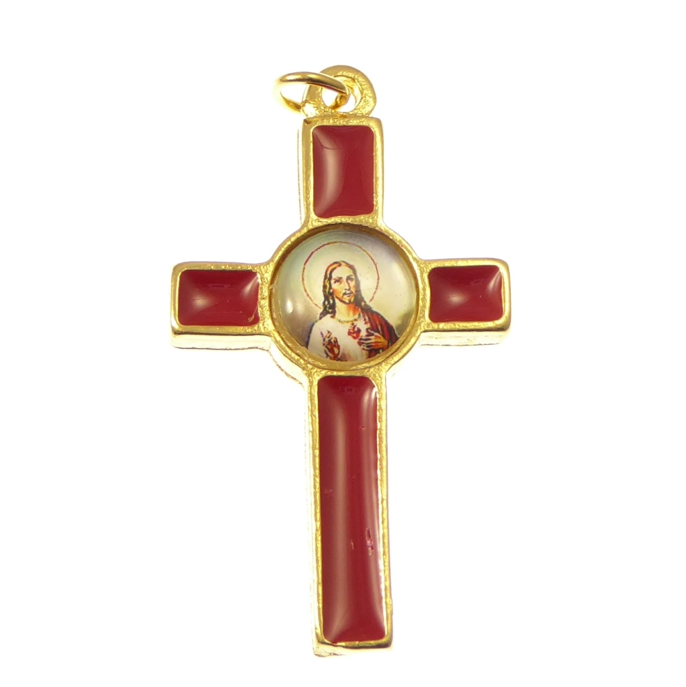 Rosary cross with the Sacred Heart image
