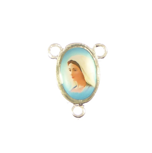 Center with the Queen of Peace image 17mm silver