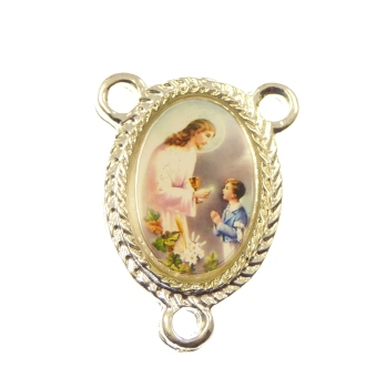 Rosary center - First Holy Communion - Boy image silver 25mm
