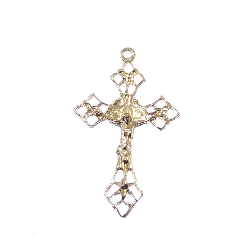 Standard Crucifix cross, rosary cross, silver metal
