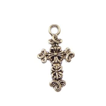 Fleur de lis silver metal unique crucifix cross pendant