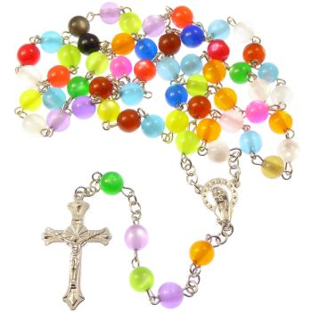 Catholic rainbow round multi-coloured rosary beads