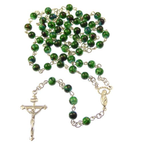Dark green marble style 6mm beads Rosary beads necklace