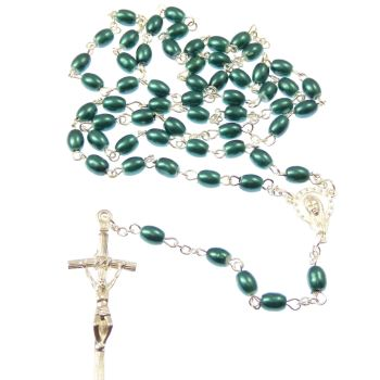 Green Blue Catholic rosary beads silver Papal crucifix