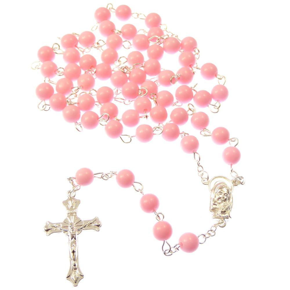 Large Pink Long Catholic Rosary Beads Mary Jesus Center