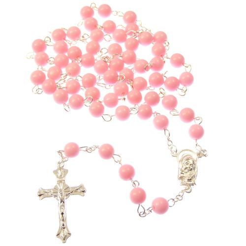 Large pink long Catholic rosary beads Mary Jesus center