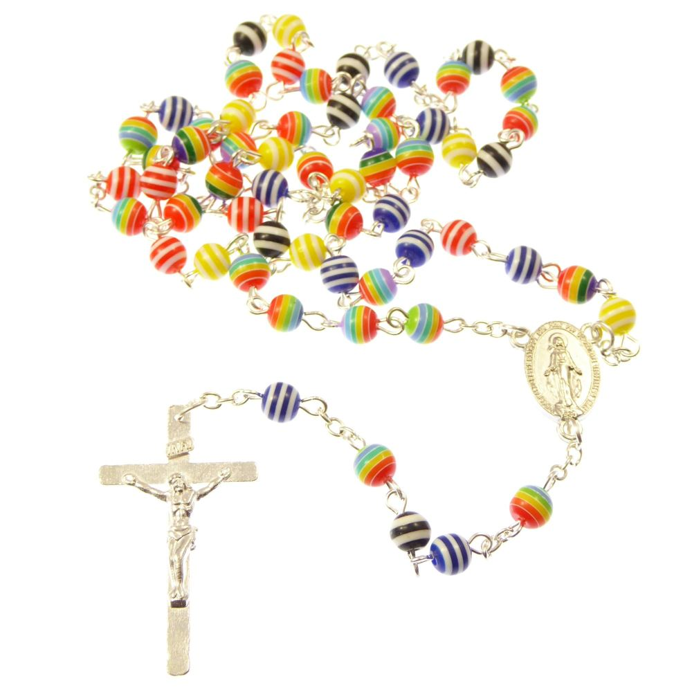 Rainbow rosary beads necklace - assorted colour beads
