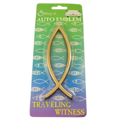Gold auto car emblem plain Jesus fish Christian sticker 14cm