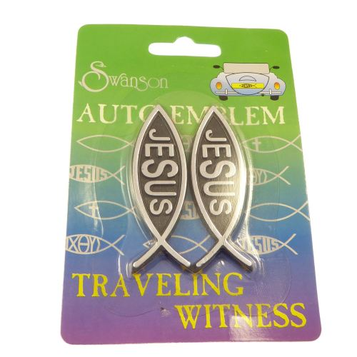 Car auto emblem solid sticker Christian small jesus fish gift x 2