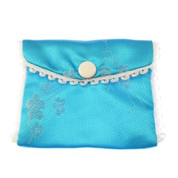 Blue fabric embroidered rosary beads purse bag button