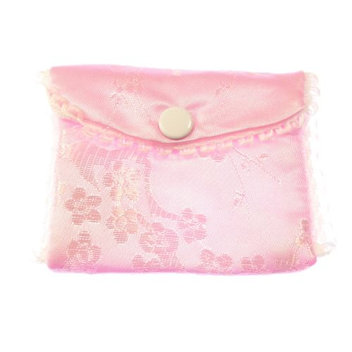 Pink fabric embroidered rosary beads purse bag button