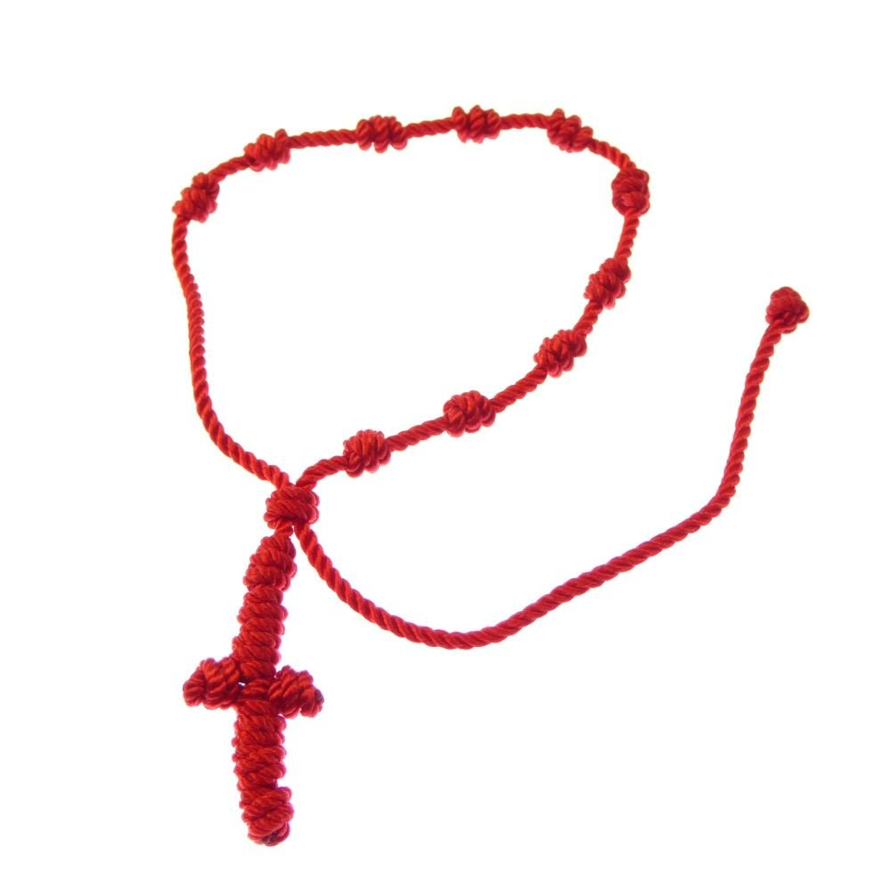 Red knotted cord rosary beads bracelet - adjustable