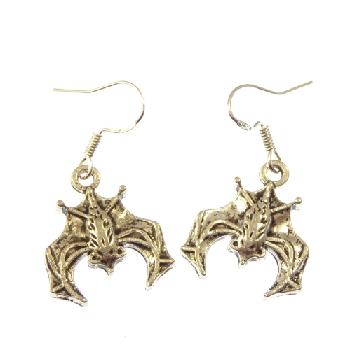 Dangly bat earrings with sterling silver hooks