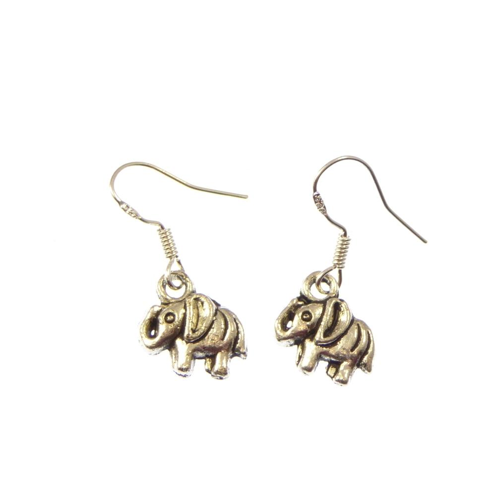 Elephant earrings, dangly earrings with sterling silver hooks