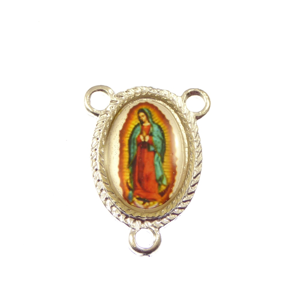 Rosary center - Our Lady of Guadalupe image in silver 25mm