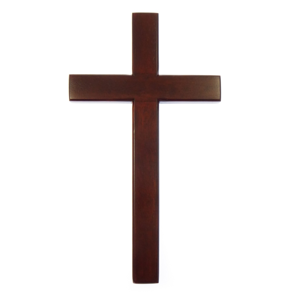 15cm wooden Mahogany large wall hanging cross brown wood smooth