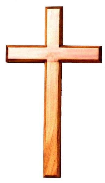 35cm wooden Mahogany large wall hanging cross brown wood smooth