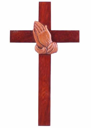 20cm praying hands wooden Mahogany large wall hanging cross brown wood smoo