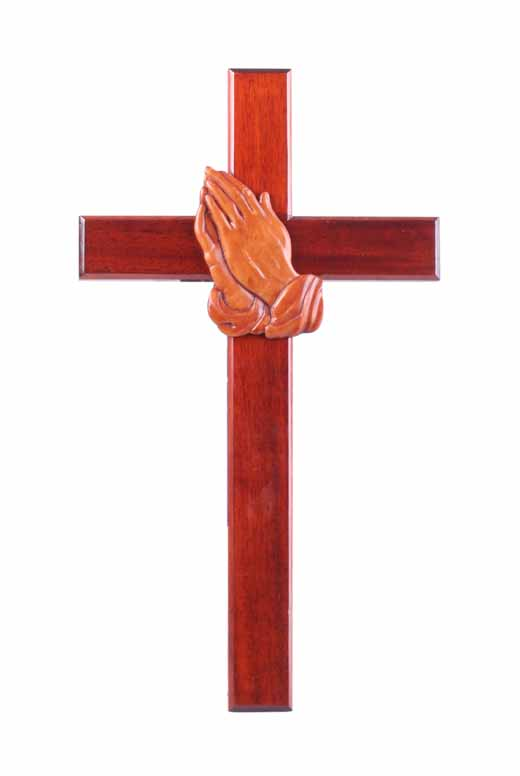 40cm praying hands wooden Mahogany large wall hanging cross brown wood smoo