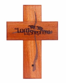 Christian The Lord is my Shepherd lasered mahogany wooden wall cross 20cm