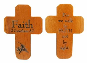 Faith Corinthians brown wooden 5cm pocket crucifix Christian gift lasered cross