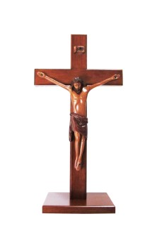 Christian large wood wooden Corpus standing Cross 30cm square base crucifix