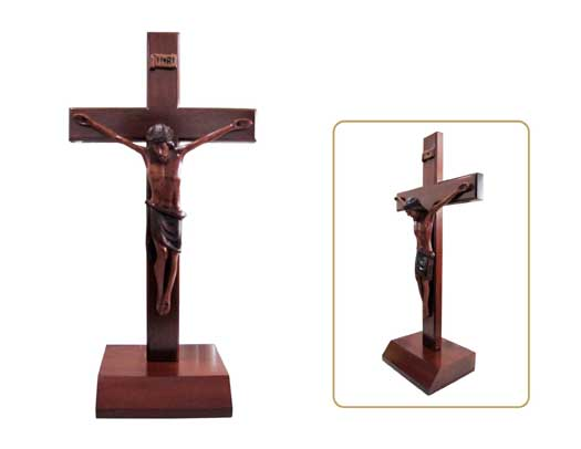 Christian large wood wooden Corpus standing Cross 40cm square base crucifix