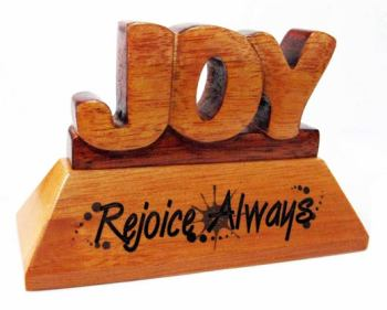 Joy Christian wood mahogany desktop gift 10cm Rejoice Always ornament gift