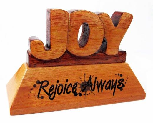 Joy Christian wood mahogany desktop gift 10cm Rejoice Always ornament gift
