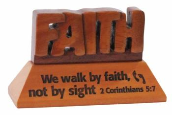Faith Christian wood mahogany desktop gift 10cm we will walk by faith Corinthians ornament